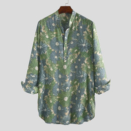 vintage style clothing men Canada - INCERUN Men Long Style Shirt Floral Print Loose Long Sleeve V Neck Casual Vintage Tops Breathable Streetwear Men Muslim Clothing