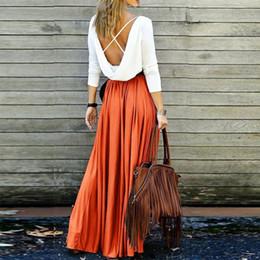 $enCountryForm.capitalKeyWord Australia - Boho 2019 Women High Waist Pleated Skirts Elegant Solid Khaki Gray Vintage Floor-length Maxi Skirts Beach Boho A-line Long Skirt