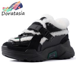 suede platform sneakers Australia - DORATASIA New 35-42 Winter Add Fur Platform Shoes Ladies Genuine Leather Suede Sneakers Women 2019 Casual Shoes Woman