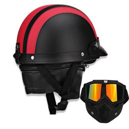 $enCountryForm.capitalKeyWord NZ - Motorcycle Helmet With Goggle Mask Style Retro Motorbike Scooter Pilot Leather Motorcycle Open Helmet Vintage Motor