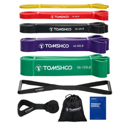 resistance pack Australia - TOMSHOO 5 Packs Pull Up Assist Bands Set Resistance Loop Bands Powerlifting Exercise Stretch with Door Anchor and Handles