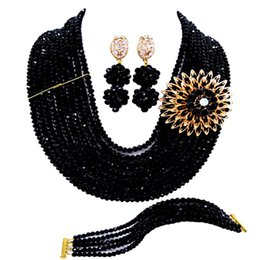 $enCountryForm.capitalKeyWord NZ - Fashion Black Crystal African Beads Jewelry Set Nigerian Necklace Bracelet Earrings Party Gifts 10DS03