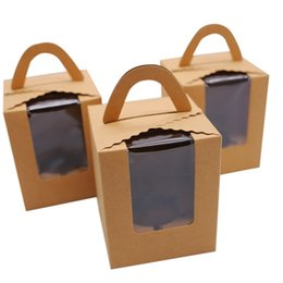 Discount cupcakes packaging - Kraft Cupcake Boxes with handle, Cake Boxes Cookie Packaging Box 30pcs lot
