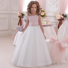 White Tutus For Girls Australia - Flower Girl Dress Pink White Tutu Dress BabyTutu FlowerGirl Dresses for Wedding First Communion Occasion Gown Kids Dresses 2019
