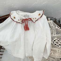 StyliSh blouSeS topS online shopping - Stylish INS Little Girls Blouses Shirts Straps Turn down Collar Cotton Lovely Children Blank White Princess Girls Shirts Tops