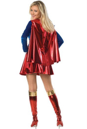 Wholesale supergirl cosplay resale online - Supergirl Cosplay Costumes Clothes Super Woman Sexy Fancy Dress with Boots GirlsHalloween Costumes