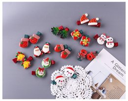Xmas tree decorations flowers online shopping - Acrylic Christmas Hair Clip Xmas Tree Santa Claus Headwear Hair Accessory For Girl Kid New Year Xmas Party Decoration Acrylic Hair Clips