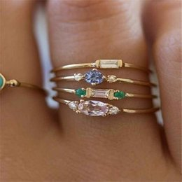 Gold Pink Rings For Women Australia - New Fashion 4Pcs Female Ring Sets 18K Gold Plated Pink Square Crystal Zircon Wedding Engagement Rings For Women