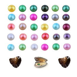 wish pearl gifts NZ - Discount promotion round 7-8mm pearl oyster Natural freshwater shell 27 colors free shipping DIY love wish gift free shipping