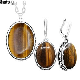 $enCountryForm.capitalKeyWord UK - Oval Tigers Eye Stone Jewelry Set Vintage Flower Pendent Necklace Earrings Set For Women Fashion Party Gift