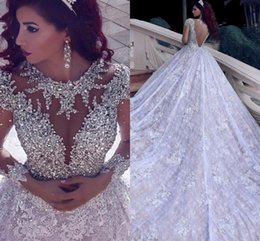 HigH slit gowns online shopping - 2020 Luxury Beading Long Sleeve Muslim Wedding Dresses With Long Train Sequined Lace Arabic Bridal Gown Turke Robe De Mariage