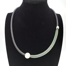 necklace pipes 2019 - YD&YDBZ 2019 Simple Necklace Clothes Accessory Jewelry Women Fake Pearl Rubber Necklaces Green Lace Pipe Collar Handmade