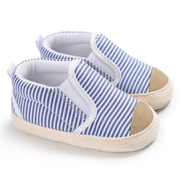 canvas shoes kid sole Australia - Newborn Baby Sneakers Shoes Kids Boys First Walkers Infant Toddler Canvas Striped Soft Soled Babe Loafer