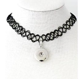 $enCountryForm.capitalKeyWord Australia - Black Color Fish Wire Elastic Button Snap Charm Choker Collar Necklaces Pendant 5PCS Vintage Silver For Women Jewelry E26