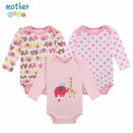 Wholesale Infant Underwear Australia - 100% Bodysuit 3pieces lot Autumn Newborn Cotton Body Baby Long Sleeve Underwear Infant Boy Girl Pajamas Clothes Q190520