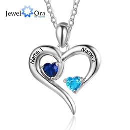 $enCountryForm.capitalKeyWord Australia - Personalized 925 Sterling Silver 2 Birthstone Necklace Pendants Engraved Heart Birthstones Jewelry Mom Gift Jewelora Ne101894 J190526