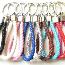 keychains for women handbags 2019 - Colorful Braided Leather Key Chain Double Keyring Handbags Holder (Not fit for Wrist Use and No Strech) cheap keychains