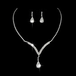 Free Shipping Crystal Bridal Jewelry Set Water Drop Necklace Stud Earrings Wedding Jewelry Sets for bride Bridesmaids Accessories from cheap platinum earrings suppliers
