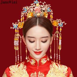 Vintage Woman Costume Australia - JaneVini 2019 Luxury Chinese Bridal Golden Costume Headdress Vintage Hairpin Ornament for Women Wedding Jewelry Hair Accessories