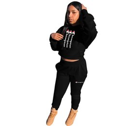 Crop hoodies wholesale online shopping - Champion Designer Tracksuits Women Crop hoodie tops Pocket Pants Leggings Two Piece Sports Suit Long SLeeve Outfits Hip Hop Outfit C8504
