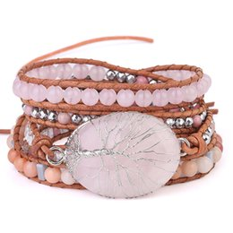 Wire Crystal Tree Australia - Wholesale Handmade Wire Wrapped Tree of Life Natural Pink Crystal Bracelet Women's 6mm Bead Pink Natural Stone Beads Leather Wrap Bracelet