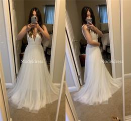 $enCountryForm.capitalKeyWord Australia - Arabric 2019 Wedding Dresses Deep V-Neck A Line Sweep Train Soft Tulle Country Style Garden Bridal Gowns Solid Beach Cheap Vestidoe De Noiva