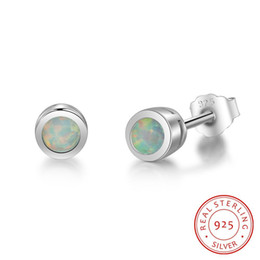 wholesale 925 round stud earrings UK - real 925 sterling silver small beads round Made In China Earring bead stud earring for girls