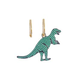Copper For Jewelry UK - Green Dinosaur Earrings For Female 2019 Fashion Brand Earring Gold Plated Wedding Jewelry Bling Cubic Zirconia Asymmetry Earings