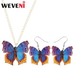$enCountryForm.capitalKeyWord Australia - WEVENI Acrylic Tropic Floral Butterfly Earrings Necklace Pendant Trendy Insect Jewelry Sets For Women Girls 2018 Gift