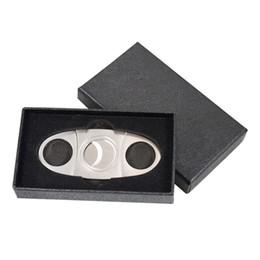 Cigares de poche en acier inoxydable couteau tabac portable ciseaux coupe-cigare avec des outils de cigares boîte cadeau noir à double lames meilleur cadeau de Noël en Solde