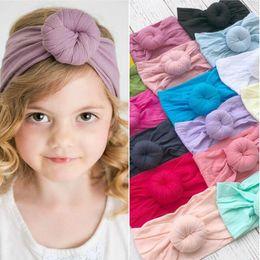 $enCountryForm.capitalKeyWord Australia - 6 styles * 21 colors fashion baby Turban Nylon Headband super soft ball Bohemia hair accessories children kids headbands 16*9cm BY0888