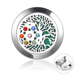 Red Indian Oil NZ - 30mm Chakra Perfume Diffuser Brooch Stainless Steel Magnetic Locket Crystal Aroma Diffuser Lapel Pins Essential Oil Locket Brooches