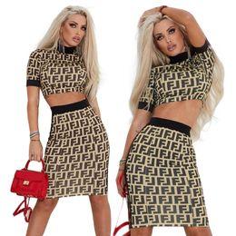 $enCountryForm.capitalKeyWord NZ - Fashion Designer Letter Printed Dresses Sexy Female Night Club 2pcs Bodycon Dress Panelled Party Clothing
