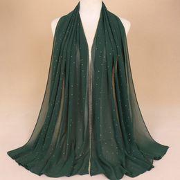 Muslim Girls Hijab Scarfs NZ - Chiffon Diamond Glitter Scarves Hijab Headband Fashion Scarf Wraps Muslim Shawls Autumn Long Soft Scarves Dropshipping