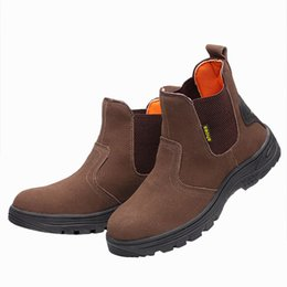 97dae93f43d British fashion mens large size breathable steel toe caps working safety  shoes anti-pierce platform security ankle leather boots