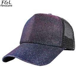 0720a462a2 Women Men Fluorescent Sequins Baseball Cap Hip Hop Gradient Patchwork Color  Flash Net Cap Couple Caps