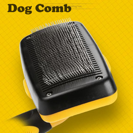 dog brushes wholesale NZ - English Package Hair Brush for Dogs Grooming Pet Brush Push Type Telescopic Needle Comb Automatic Hair Brush Remover Dog Cat Combs