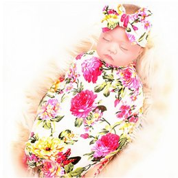 newborn gift sets for girls 2019 - Baby Swaddle Blankets Hairband Set Newborn Girls Boys Swaddle Receiving Blankets Cap Best Gifts for baby 43 Styles Free
