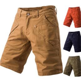 $enCountryForm.capitalKeyWord Australia - Summer Mens Cargo Pants Casual Knee Length Solid Color Regular Multi Pocket Work Trousers Drawstring Trousers Male Clothing