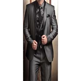 $enCountryForm.capitalKeyWord Australia - 2019 Wedding Tuxedos for Men Modern Best man Suit Grey formal Suit Groom Tuxedo Mens Jacket+Pants+Tie+Vest