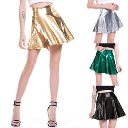 a17ba27f3d High Waist PU Skirts Women Casual Mini Gold Skirt Faux Leather Skirt Skater  PleatedFemale Silver Black Skirt Plus Size