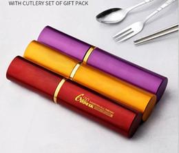 $enCountryForm.capitalKeyWord Australia - Portable tableware three-piece pen holder folding chopsticks fork spoon set five-color holiday gift gifts can be customized logo