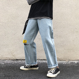 $enCountryForm.capitalKeyWord Australia - 2019 Spring And Autumn New Products Japanese Retro Tide Brand Word Hole Jeans Loose Sink Straight Leg Pants Male Blue S-2XL