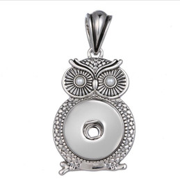snap button jewellery wholesale NZ - Owl Pendant Jewellery 18MM Silver Plated Noosa Chunks Snap Button Pendants Rhinestone Necklace Jewelry for Sale