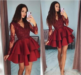 stylish prom dresses sleeves Canada - Celebrity Cocktail Dress Red V-Neck Stylish Tiered Long Sleeve Beaded Lace Applique Short Prom Dress Lovely Fashion Homecoming Dresses