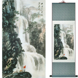 chinese landscape oil paint NZ - Landscape Painting Home Office Decoration Chinese Scroll Painting Mountain And River Painting2019062502
