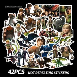 Discount nursery room wall stickers - 42pcs set Graffiti Sticker Personality How to Train Your Dragon 3 Luggage DIY stickers cartoon PVC Wall bag kids toys AA