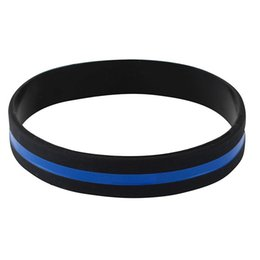 $enCountryForm.capitalKeyWord Australia - 2pcs Fashion Silicone Wristband Officers Awareness Support Thin Blue Line Silicone Wristband Bracelets Value Pack