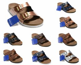 Black leather clogs online shopping - new Arizona Soft Footbed street summer Men Women Leather flats sandals Cork slippers unisex Sandy Clogs shoes Metallic Copper size