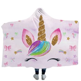 Unicorn Cloak 3D Printed 13 styles Sherpa Hooded Thorw Blanket Kids Adults Winter Plush Cape Towel Christmas Fleece Shawl 150*130cm from backdrop for newborn photography manufacturers